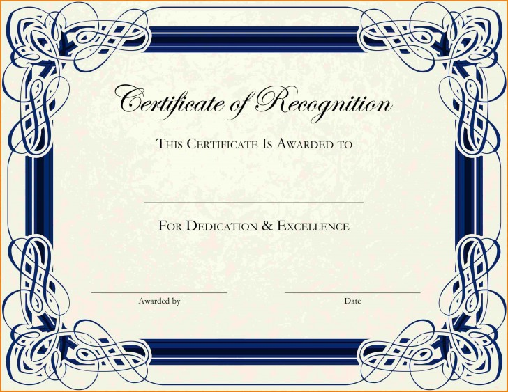 003 Phenomenal Free Printable Certificate Template Photo  Blank Gift For Word Pdf728