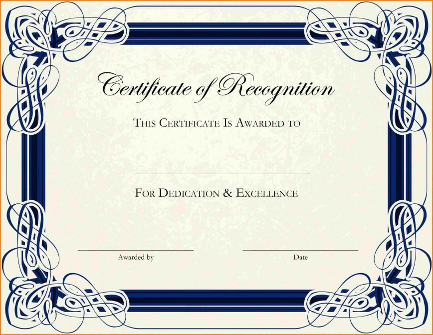003 Phenomenal Free Printable Certificate Template Photo  Blank Gift For Word Pdf868