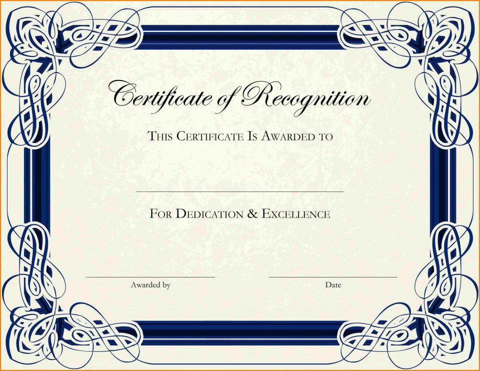 003 Phenomenal Free Printable Certificate Template Photo  Blank Gift For Word Pdf960