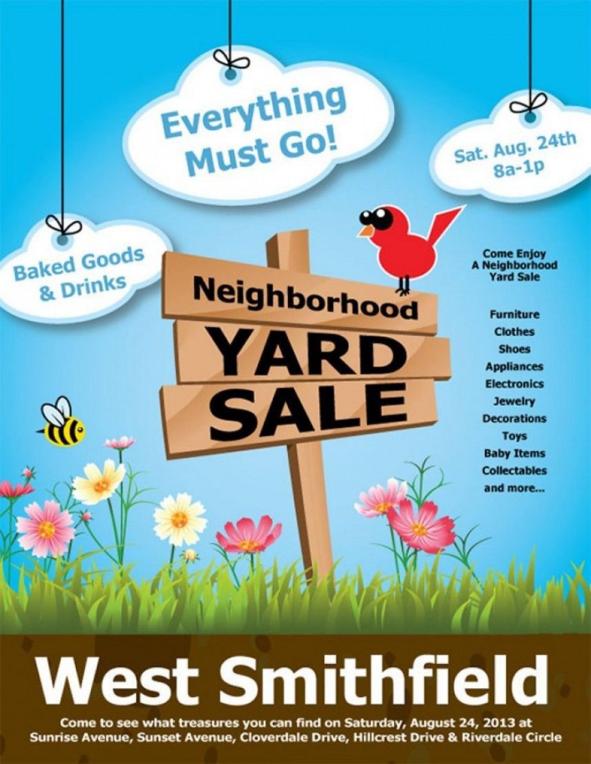 003 Phenomenal Garage Sale Flyer Template Free Design  Community Neighborhood Yard1920