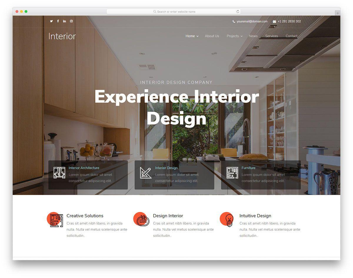 003 Phenomenal Interior Design Html Template Free Idea  DownloadFull