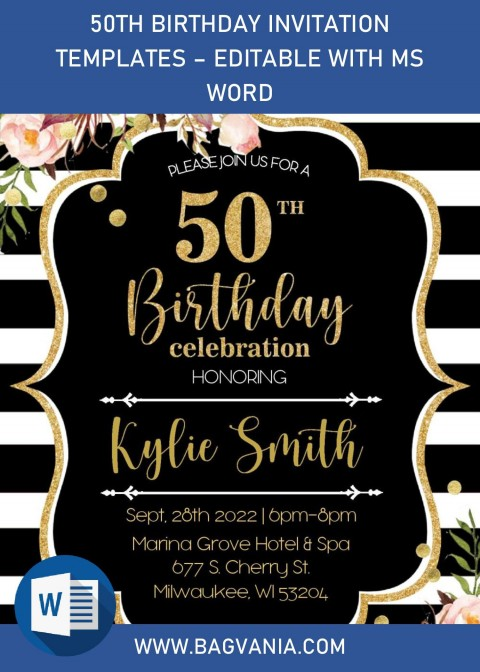 003 Phenomenal Microsoft Word 50th Birthday Invitation Template Highest Quality  Editable Wedding Anniversary480