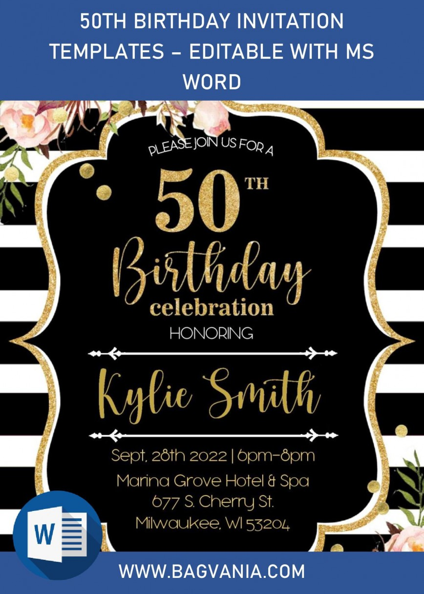 003 Phenomenal Microsoft Word 50th Birthday Invitation Template Highest Quality  Editable Wedding Anniversary868