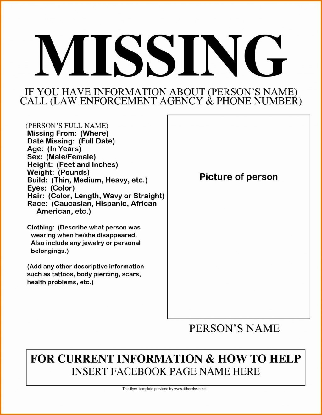003 Phenomenal Missing Person Poster Template Word Inspiration Large