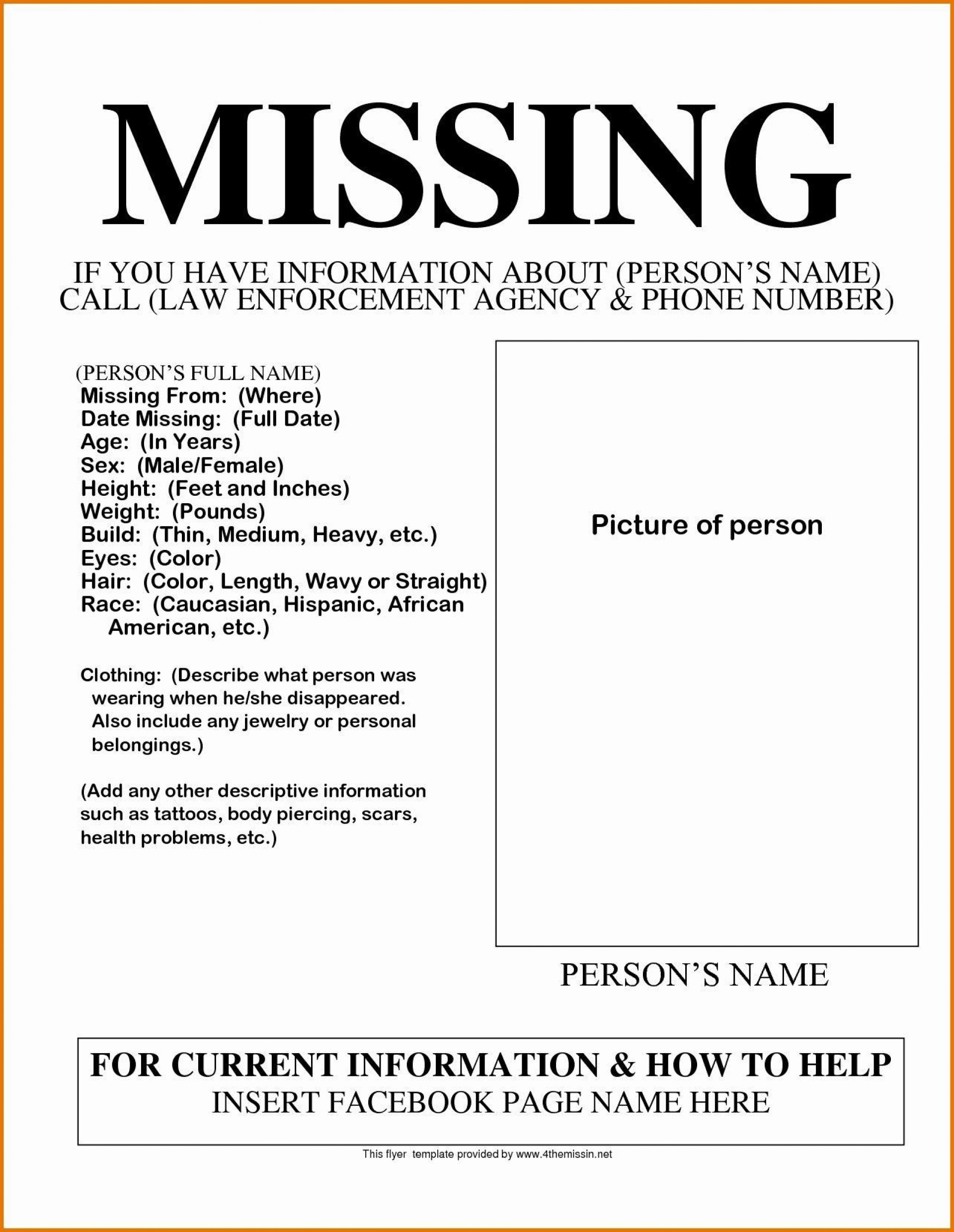 003 Phenomenal Missing Person Poster Template Word Inspiration 1920