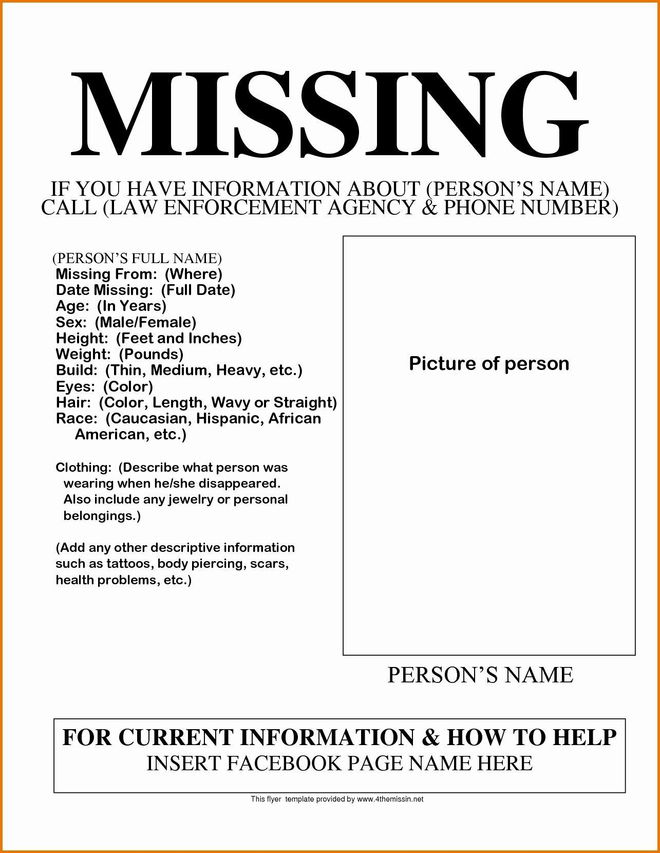 003 Phenomenal Missing Person Poster Template Word Inspiration Full