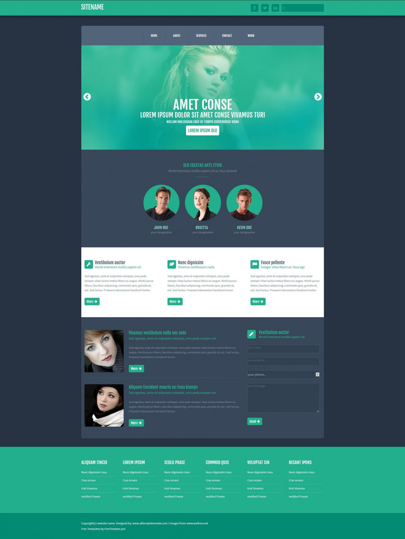 003 Phenomenal One Page Website Template Free Download Html Inspiration  Simple With Cs Responsive1400