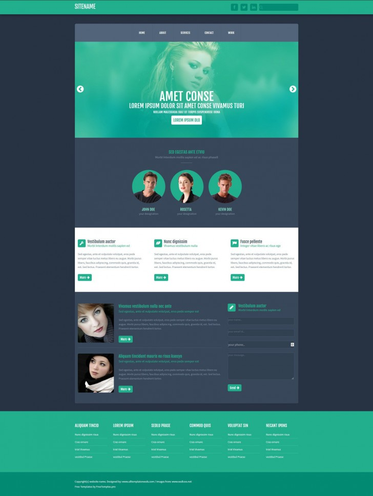 003 Phenomenal One Page Website Template Free Download Html Inspiration  Simple With Cs Responsive728