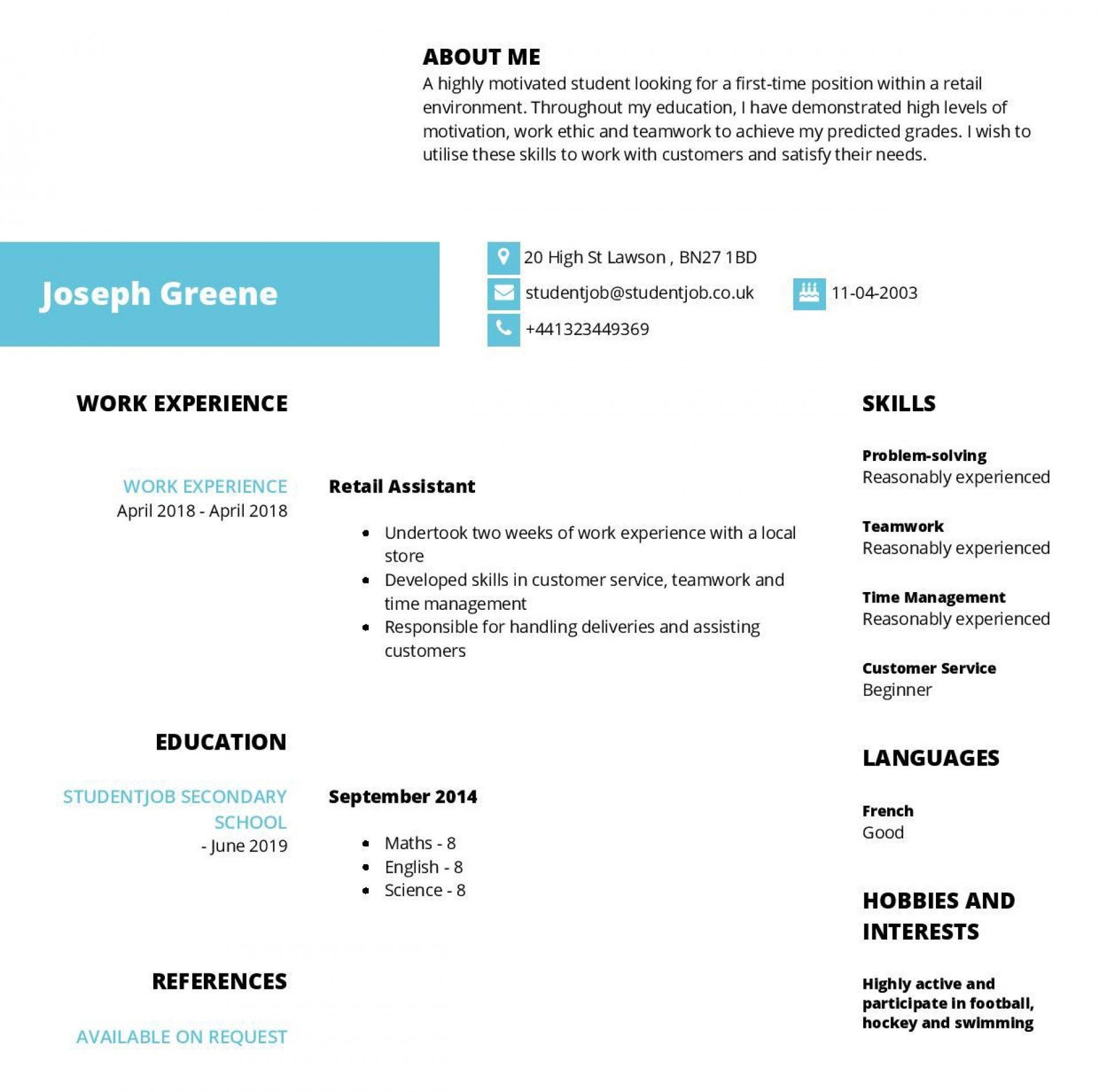 003 Phenomenal Resume Template For First Job Highest Clarity  After College Sample Student Teenager1920