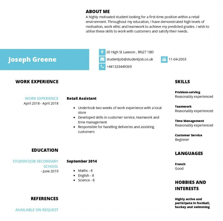 003 Phenomenal Resume Template For First Job Highest Clarity  After College Sample Student Teenager728
