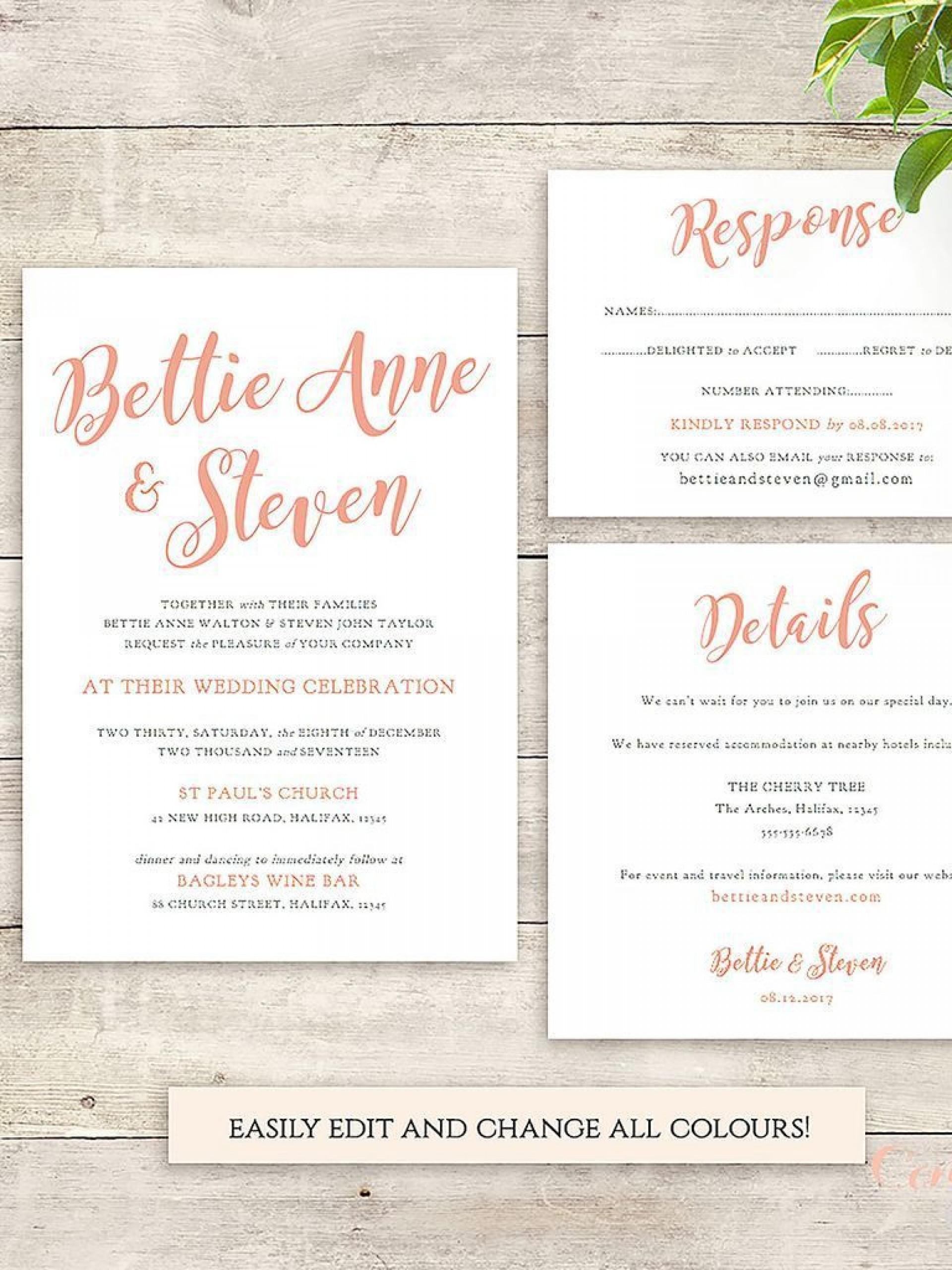 003 Phenomenal Sample Wedding Invitation Template Concept  Templates Wording Card1920