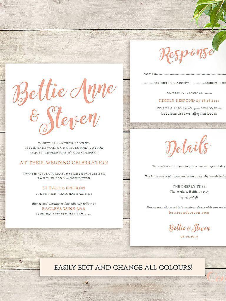 003 Phenomenal Sample Wedding Invitation Template Concept  Templates Wording CardFull