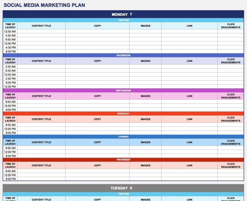 003 Phenomenal Social Media Marketing Plan Template 2018 Sample