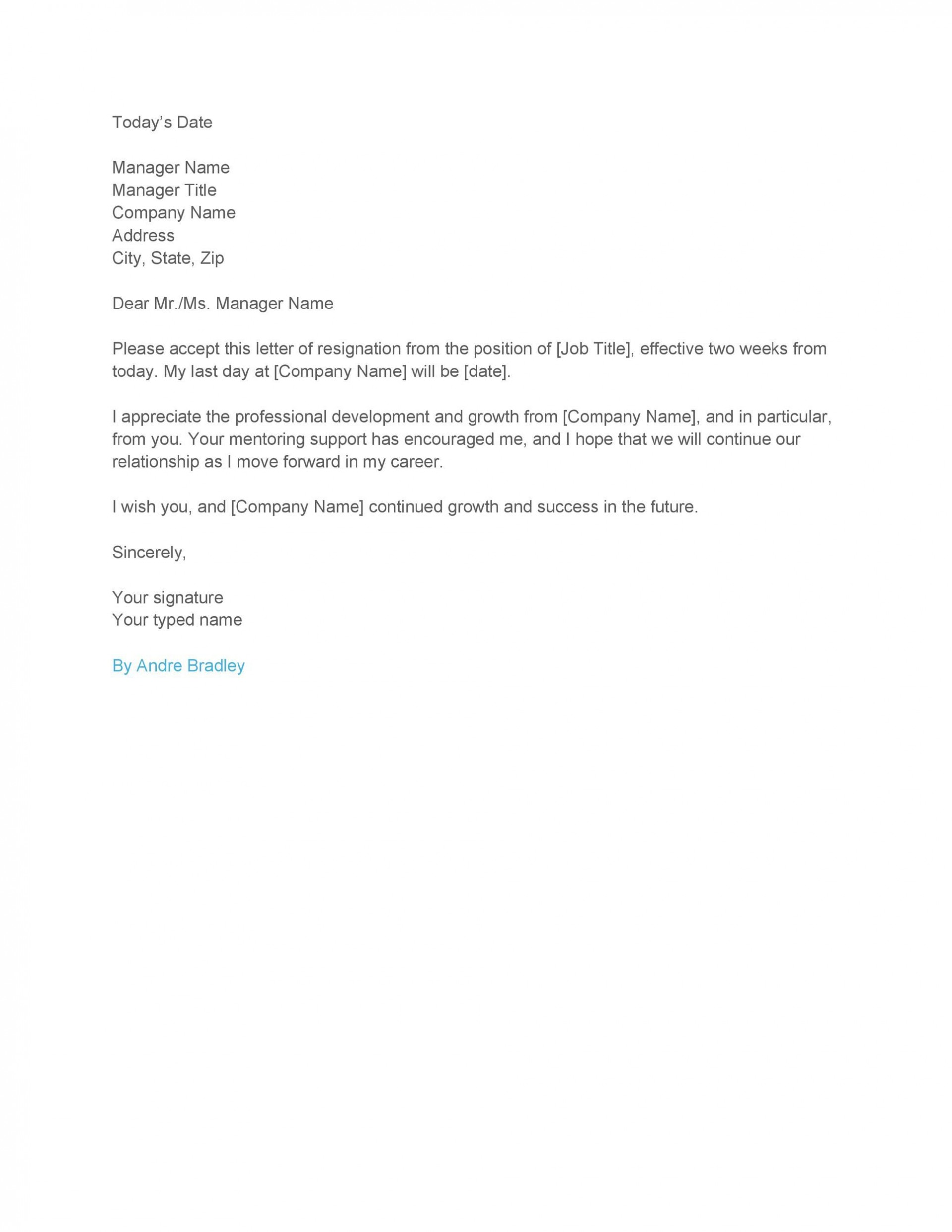 003 Phenomenal Two Week Notice Letter Template Example  Free Professional 21920