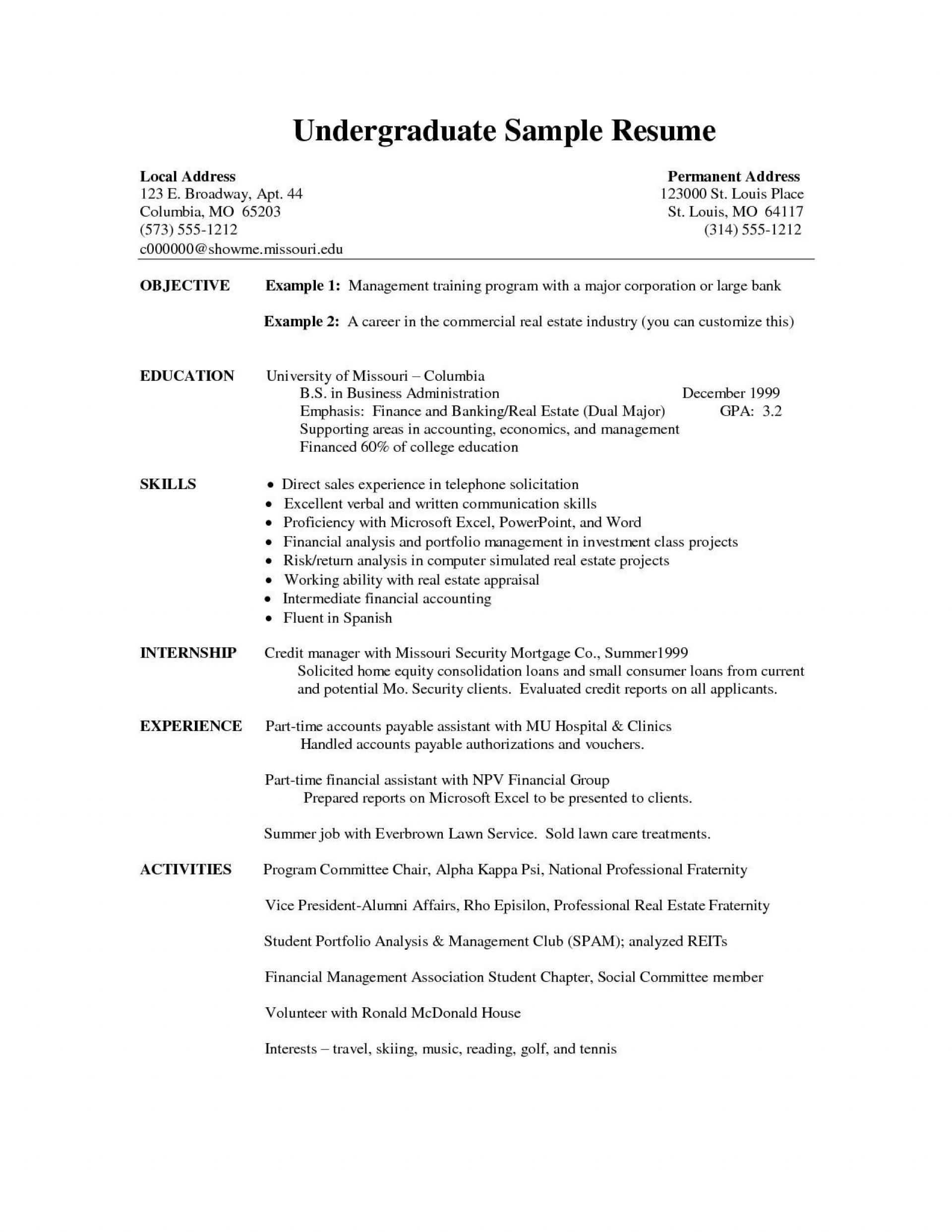 003 Phenomenal Undergraduate Student Cv Template Example  Sample Pdf Download1920