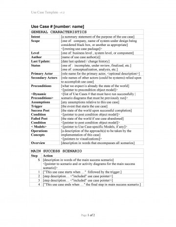 003 Phenomenal Use Case Template Word High Definition  Doc Test360
