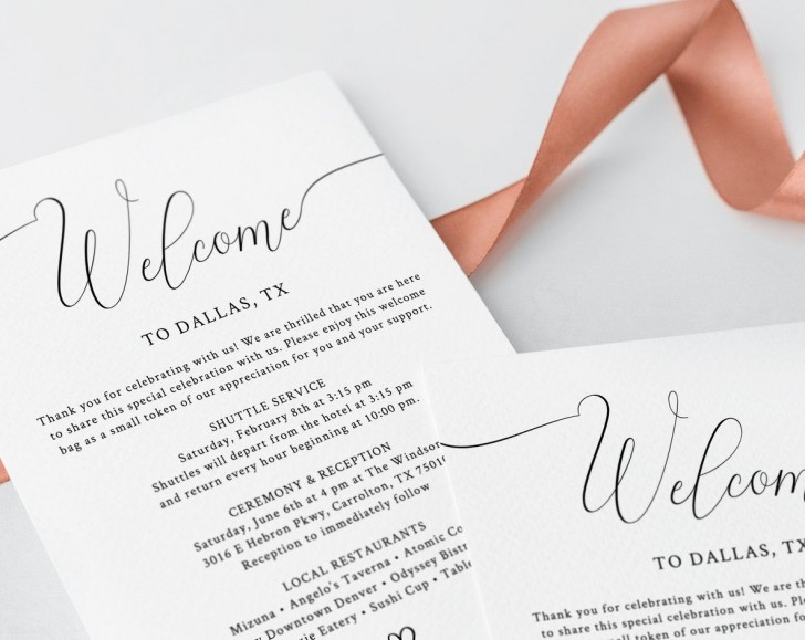 003 Phenomenal Wedding Hotel Welcome Letter Template Idea 728
