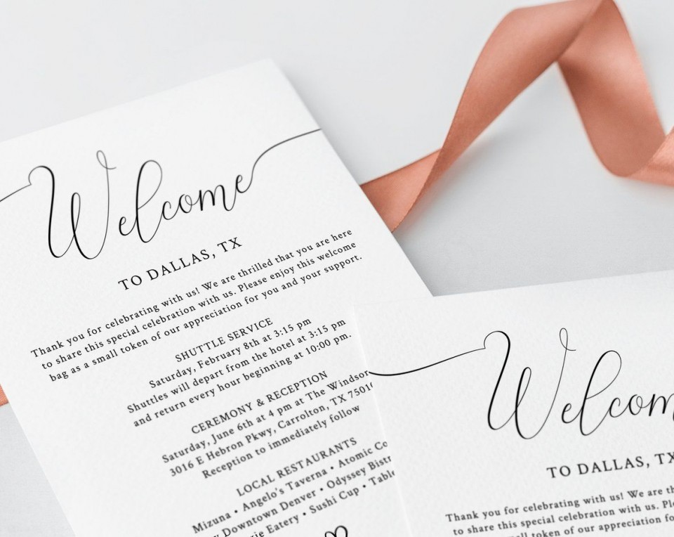 003 Phenomenal Wedding Hotel Welcome Letter Template Idea 960