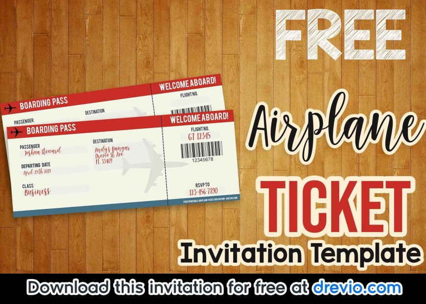 003 Rare Football Ticket Invitation Template Free Concept  Download Birthday Printable