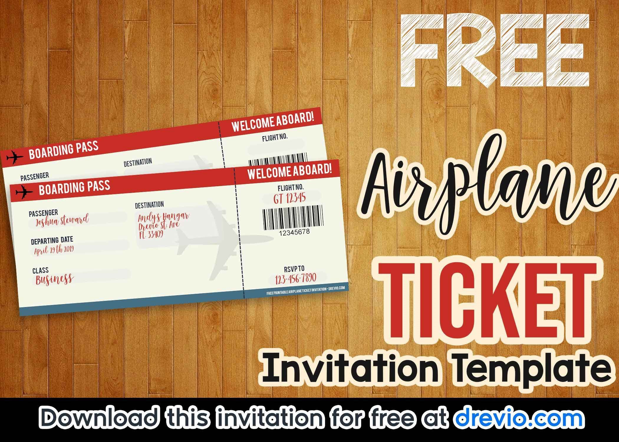 003 Rare Football Ticket Invitation Template Free Concept  Printable Party DownloadFull