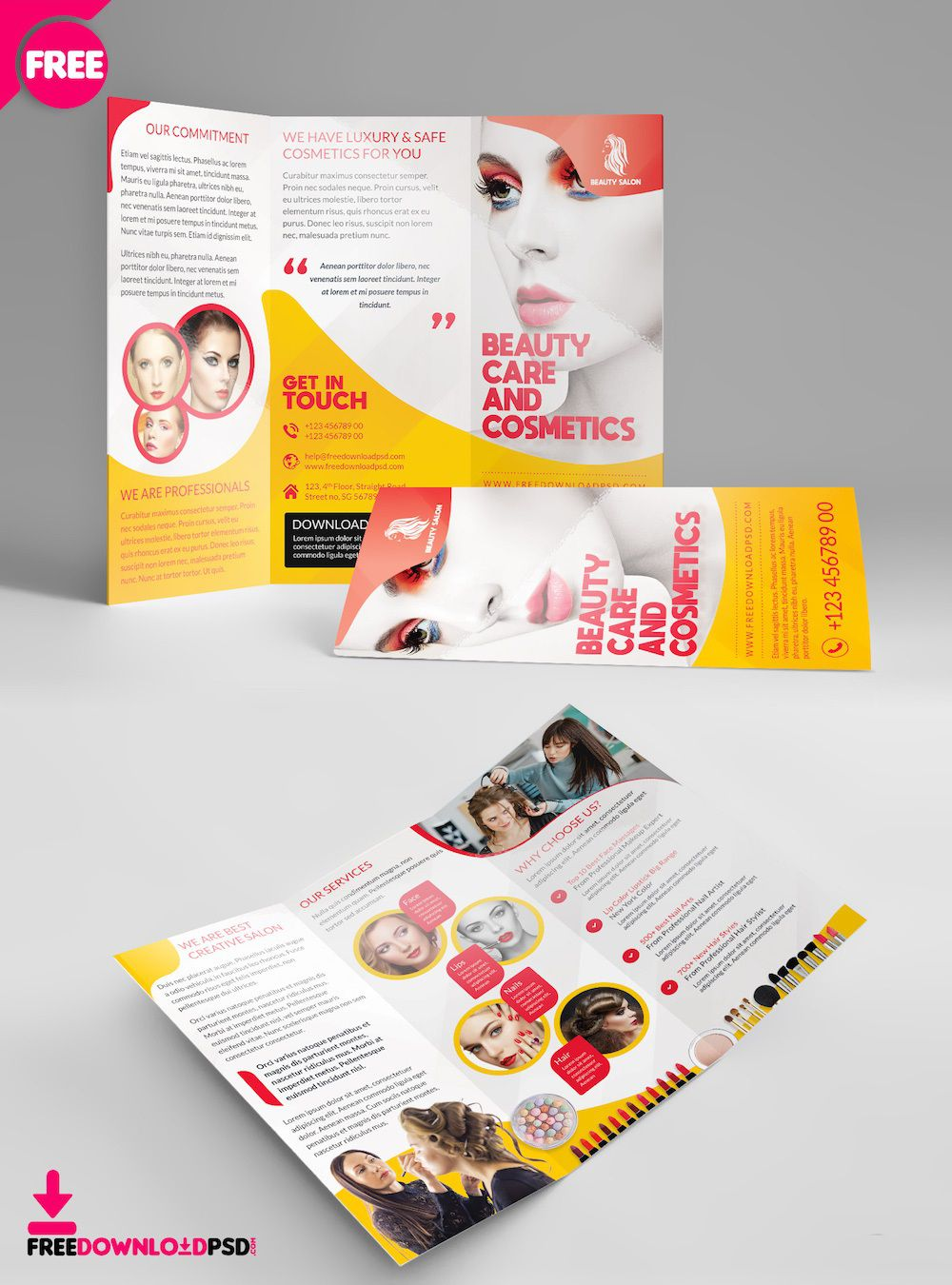 003 Rare Free Brochure Template Psd File Front And Back Inspiration Full