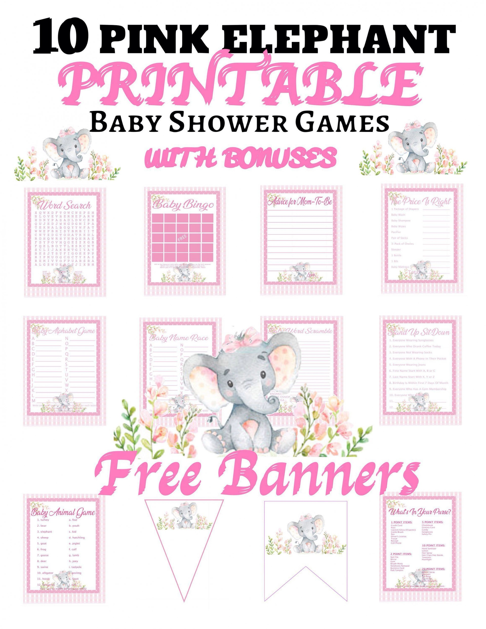 003 Rare Free Girl Elephant Baby Shower Printable Concept  Printables1920