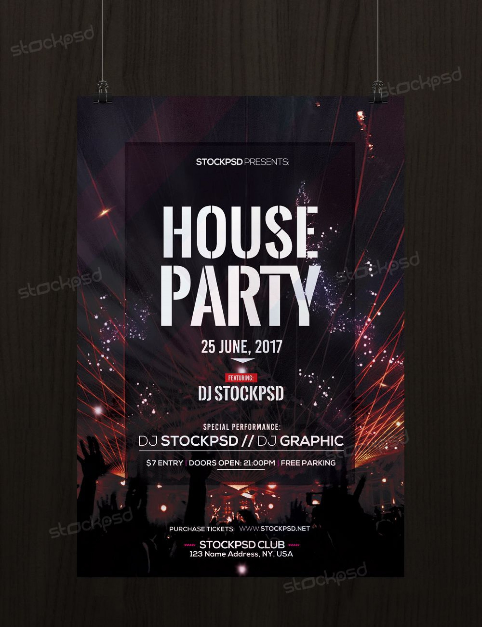 003 Rare Free Party Flyer Psd Template Download High Resolution  - Neon Glow1920