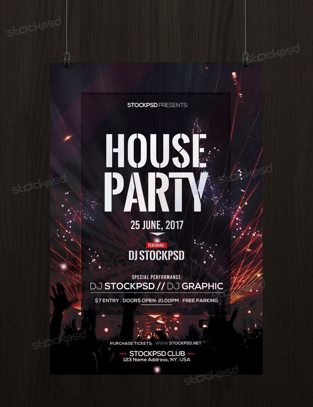 003 Rare Free Party Flyer Psd Template Download High Resolution  - Neon GlowFull
