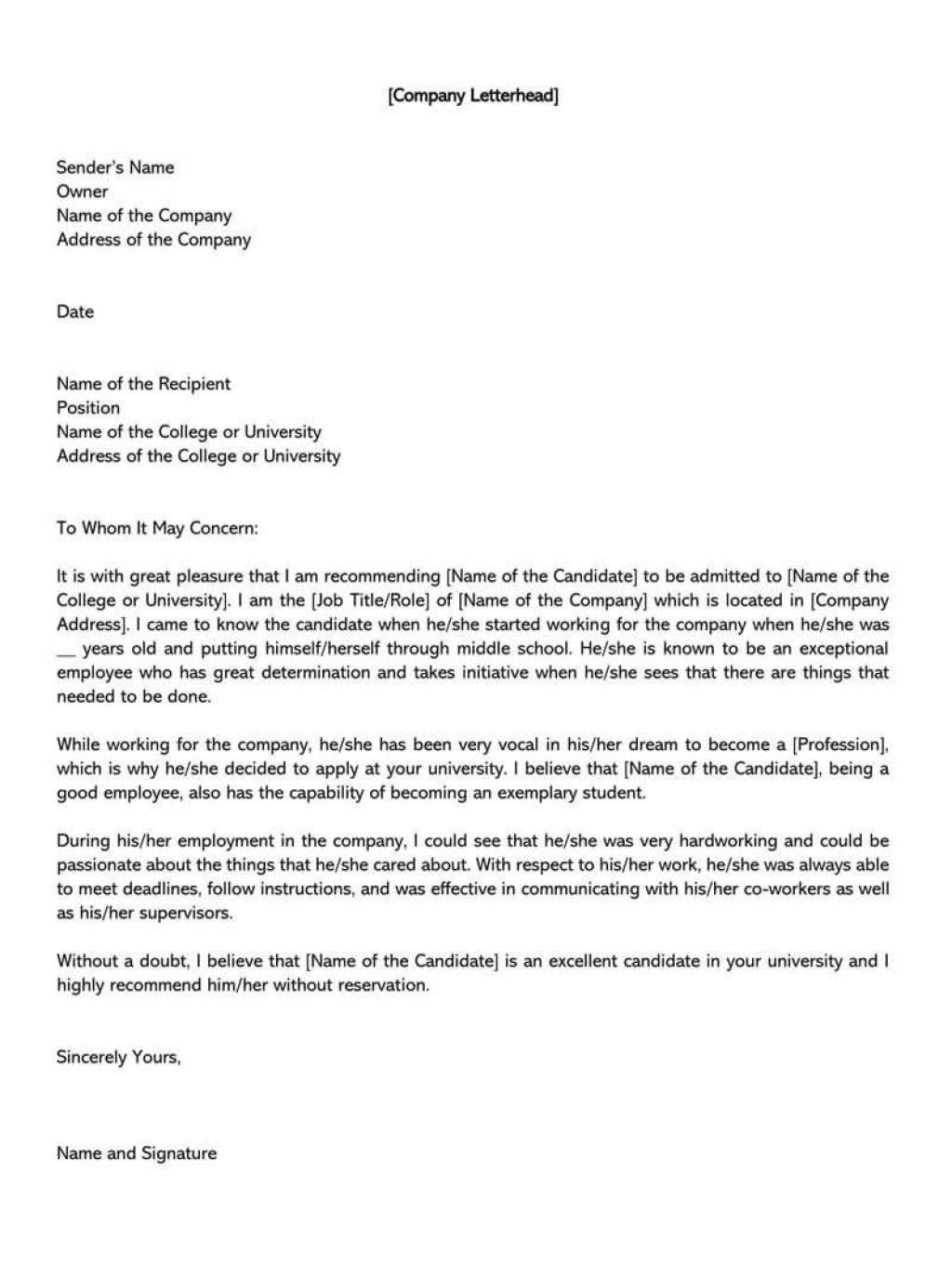 003 Rare Letter Of Recommendation Template For College Student Inspiration  Sample From ProfessorLarge