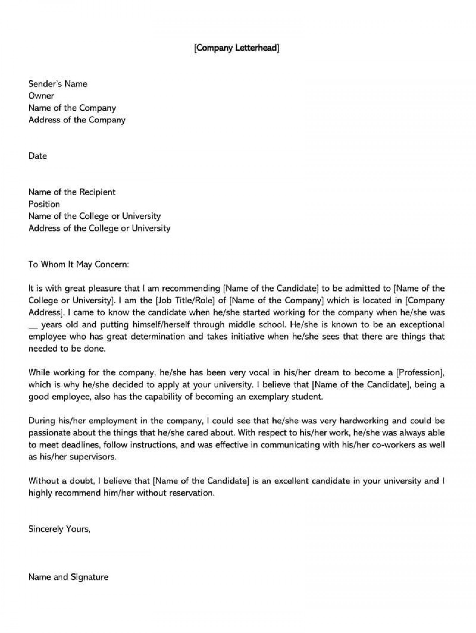 003 Rare Letter Of Recommendation Template For College Student Inspiration  Sample From Professor1920