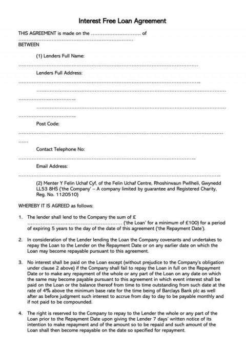 003 Rare Loan Agreement Template Free Image  Download Scotland Ontario Word480