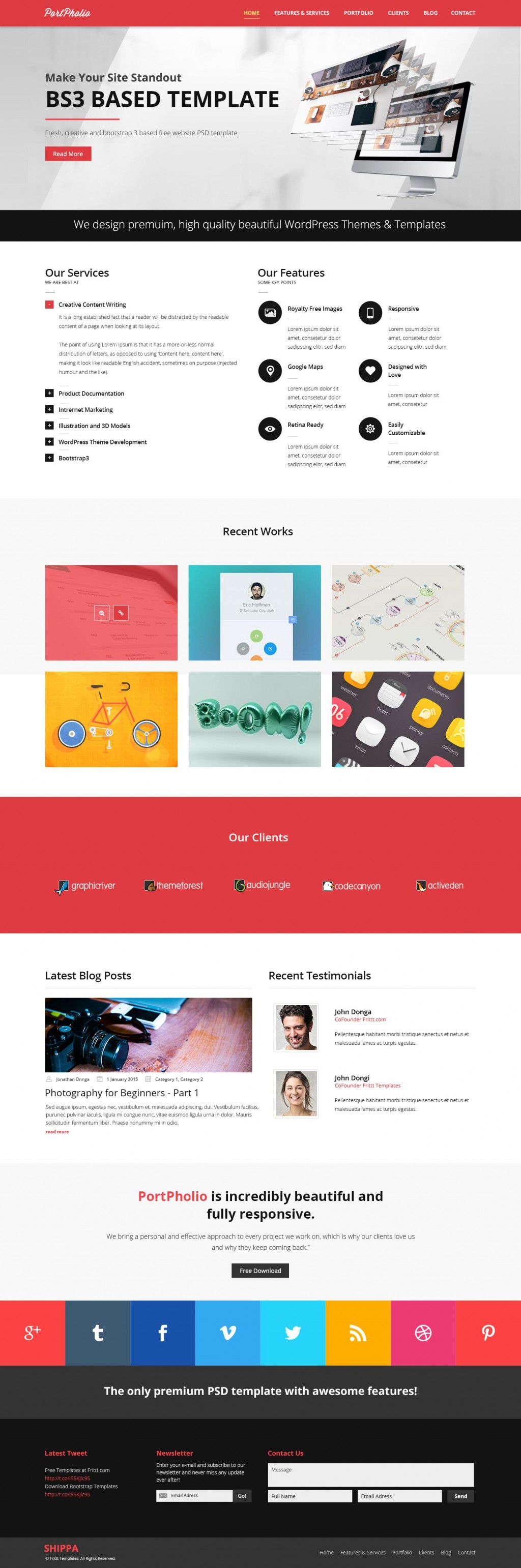 003 Rare One Page Website Template Psd Free Download Sample Large