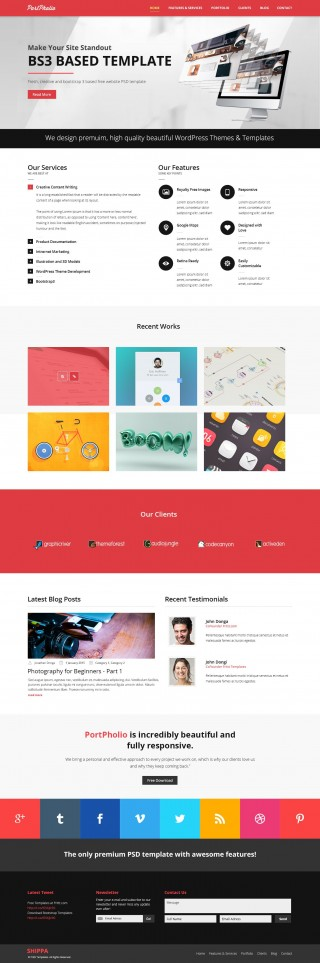 003 Rare One Page Website Template Psd Free Download Sample 320