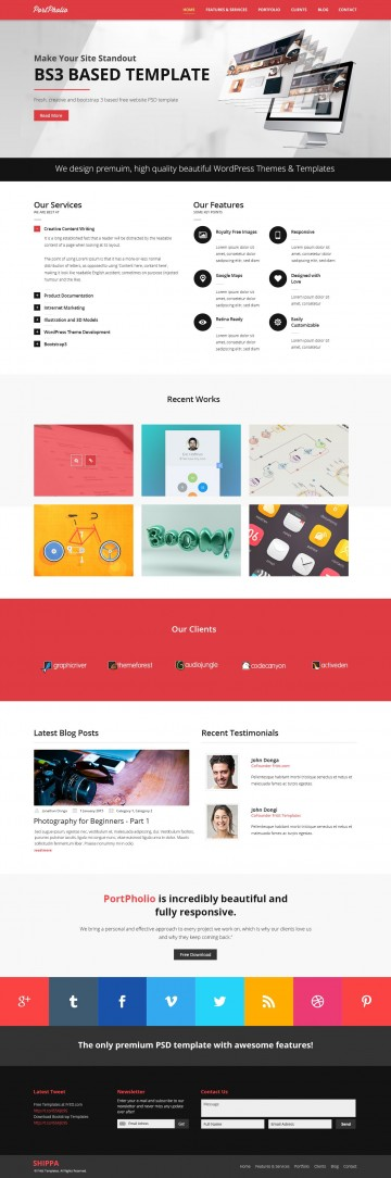003 Rare One Page Website Template Psd Free Download Sample 360