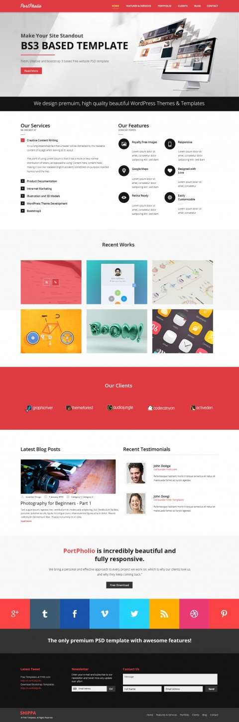003 Rare One Page Website Template Psd Free Download Sample 480