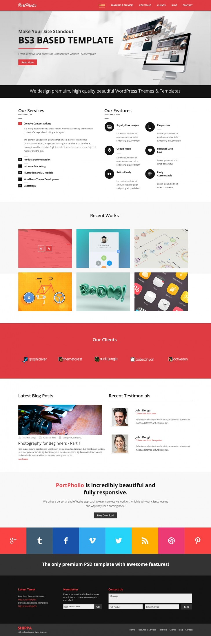 003 Rare One Page Website Template Psd Free Download Sample 728