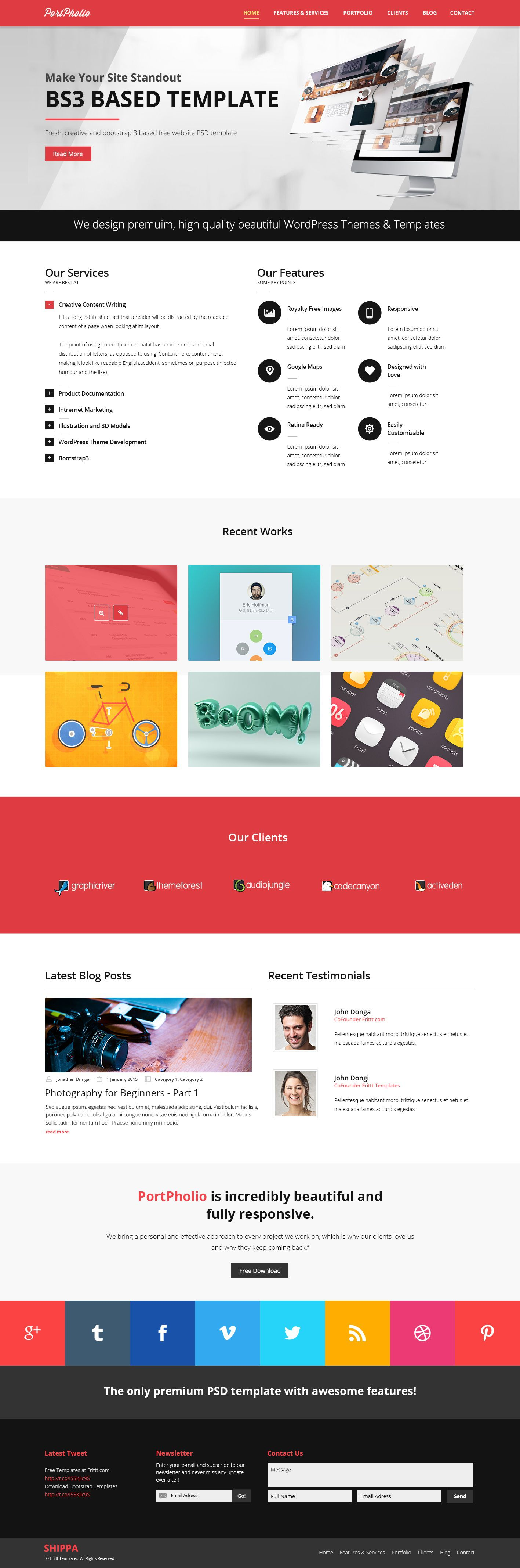 003 Rare One Page Website Template Psd Free Download Sample Full
