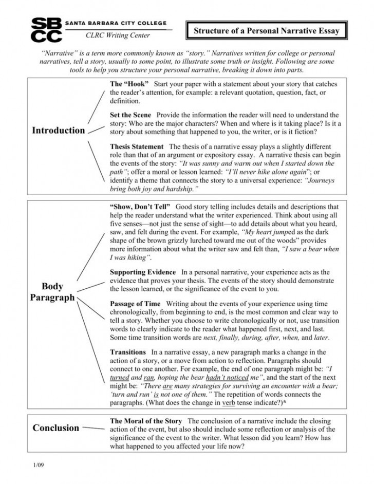 003 Rare Personal Narrative Essay Picture  Structure Sample High School Prompt728