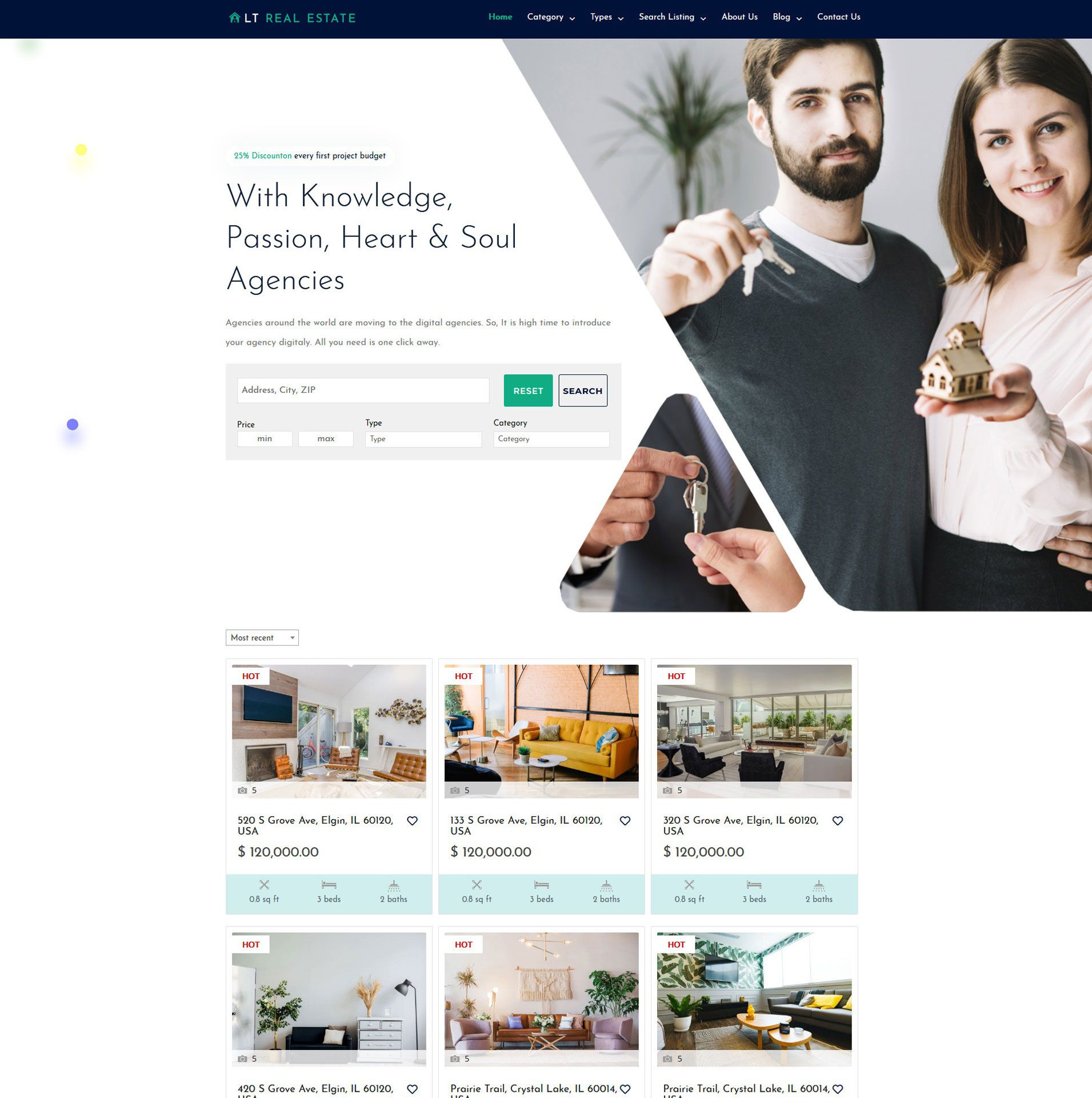 003 Rare Real Estate Template Wordpres Design  Homepres - Theme Free Download RealtyspaceFull