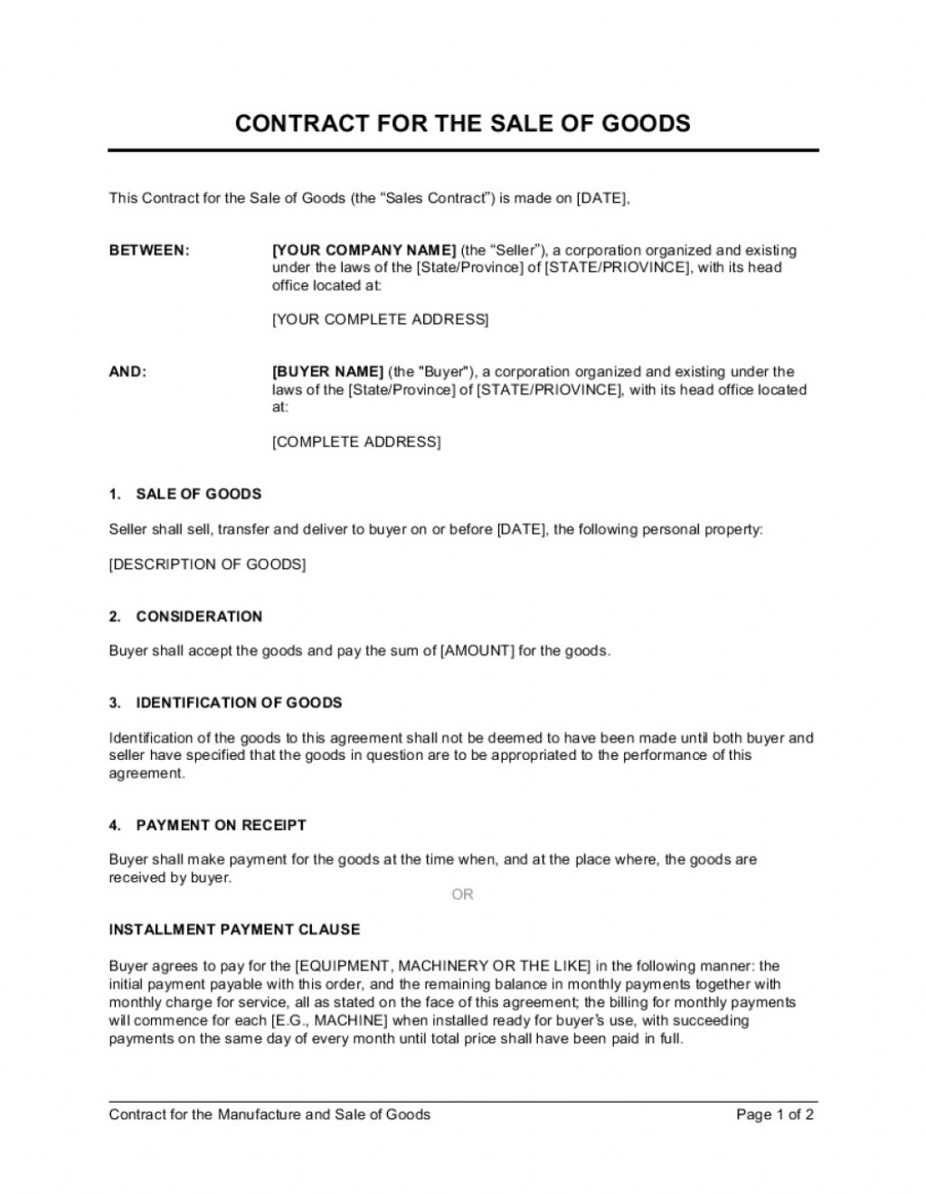 003 Rare Sale Contract Template Word Example  Sample Private CarLarge