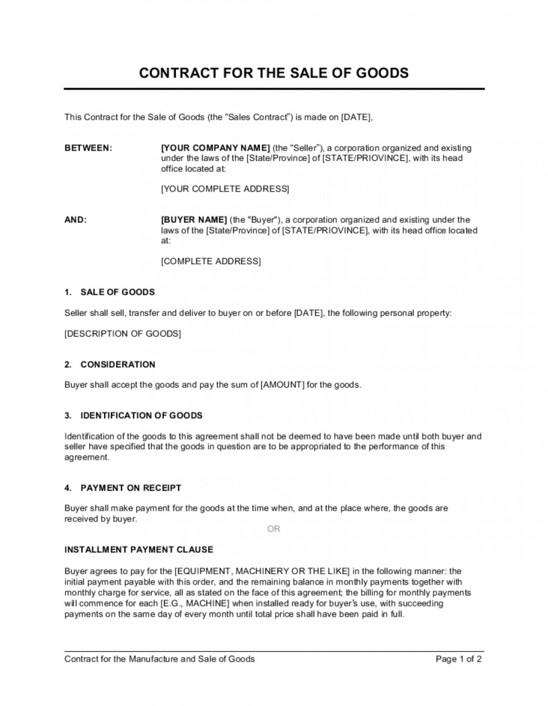 003 Rare Sale Contract Template Word Example  Sample Private Car1920