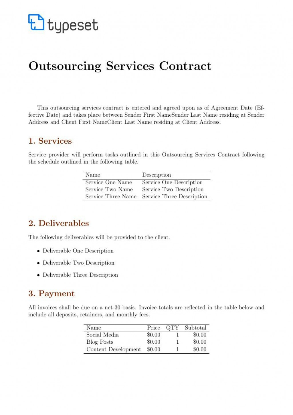 003 Rare Service Contract Template Doc Design  Docx Simple Level AgreementLarge