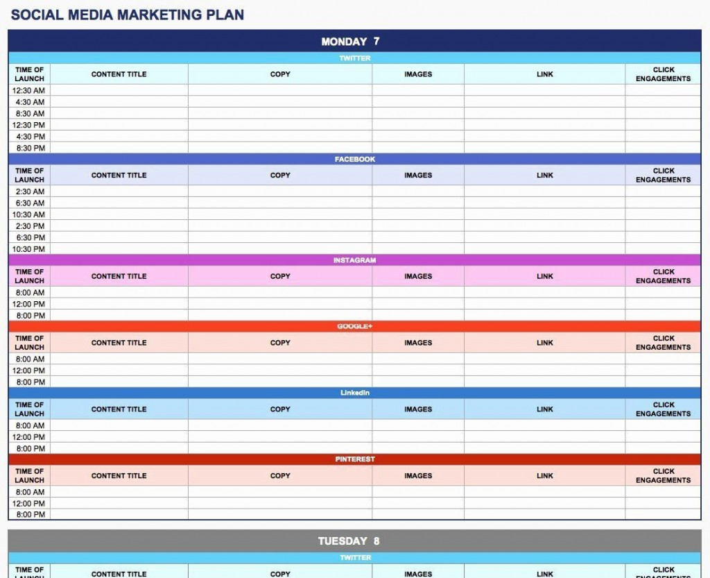 003 Rare Social Media Plan Template High Resolution  Free Download Ppt Marketing ExcelLarge