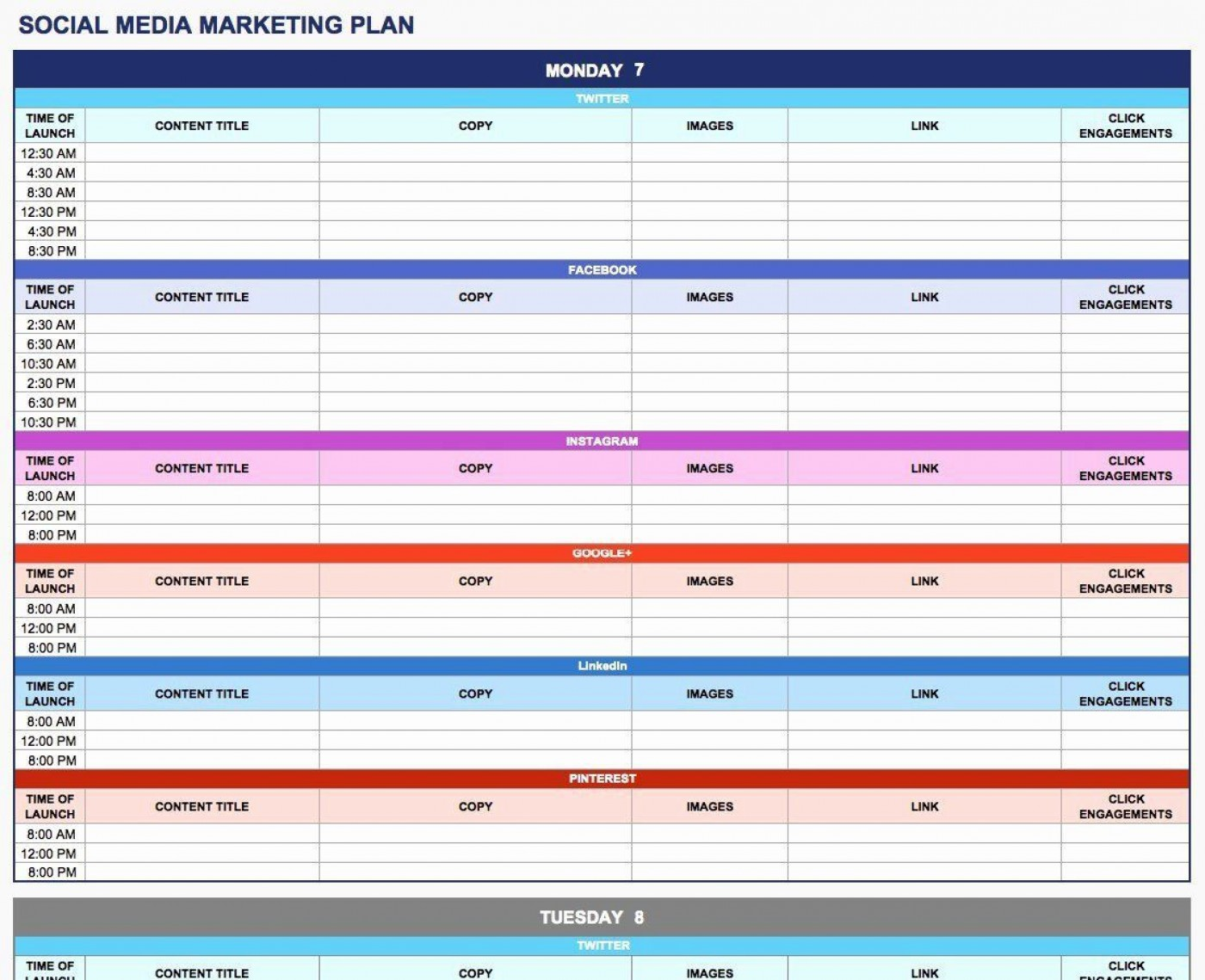 003 Rare Social Media Plan Template High Resolution  Free Download Ppt Marketing Excel1400