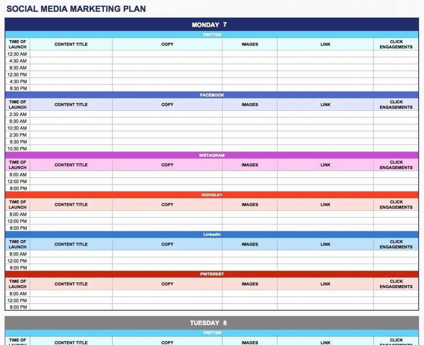 003 Rare Social Media Plan Template High Resolution  Doc Download Marketing Excel1400