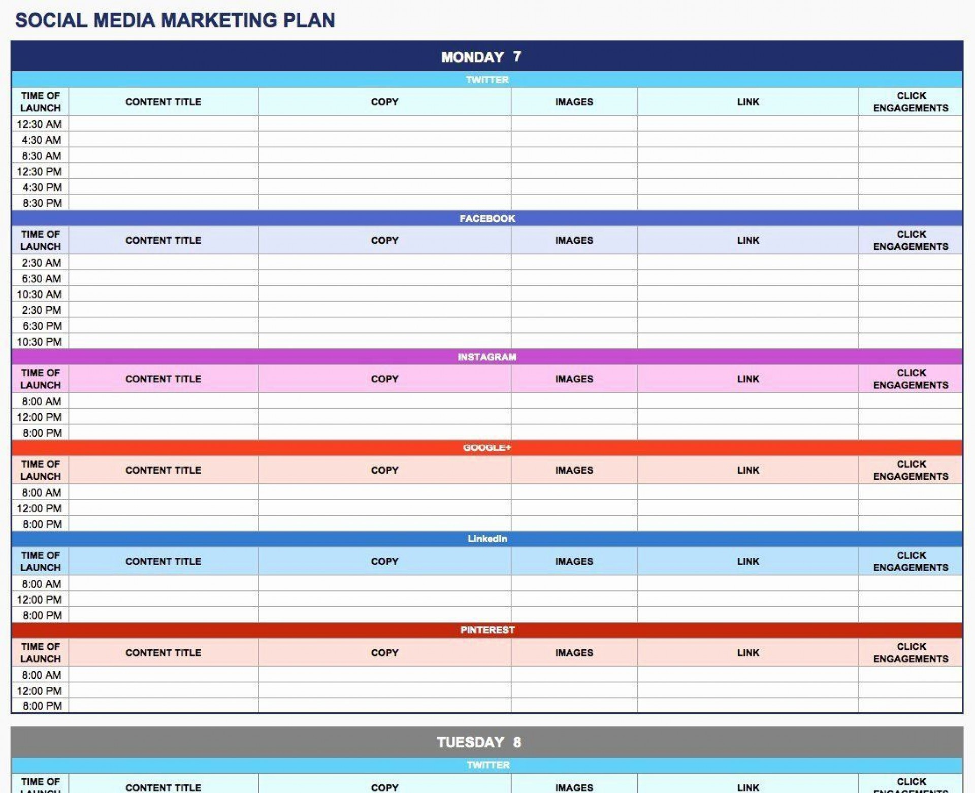 003 Rare Social Media Plan Template High Resolution  Free Download Ppt Marketing Excel1920