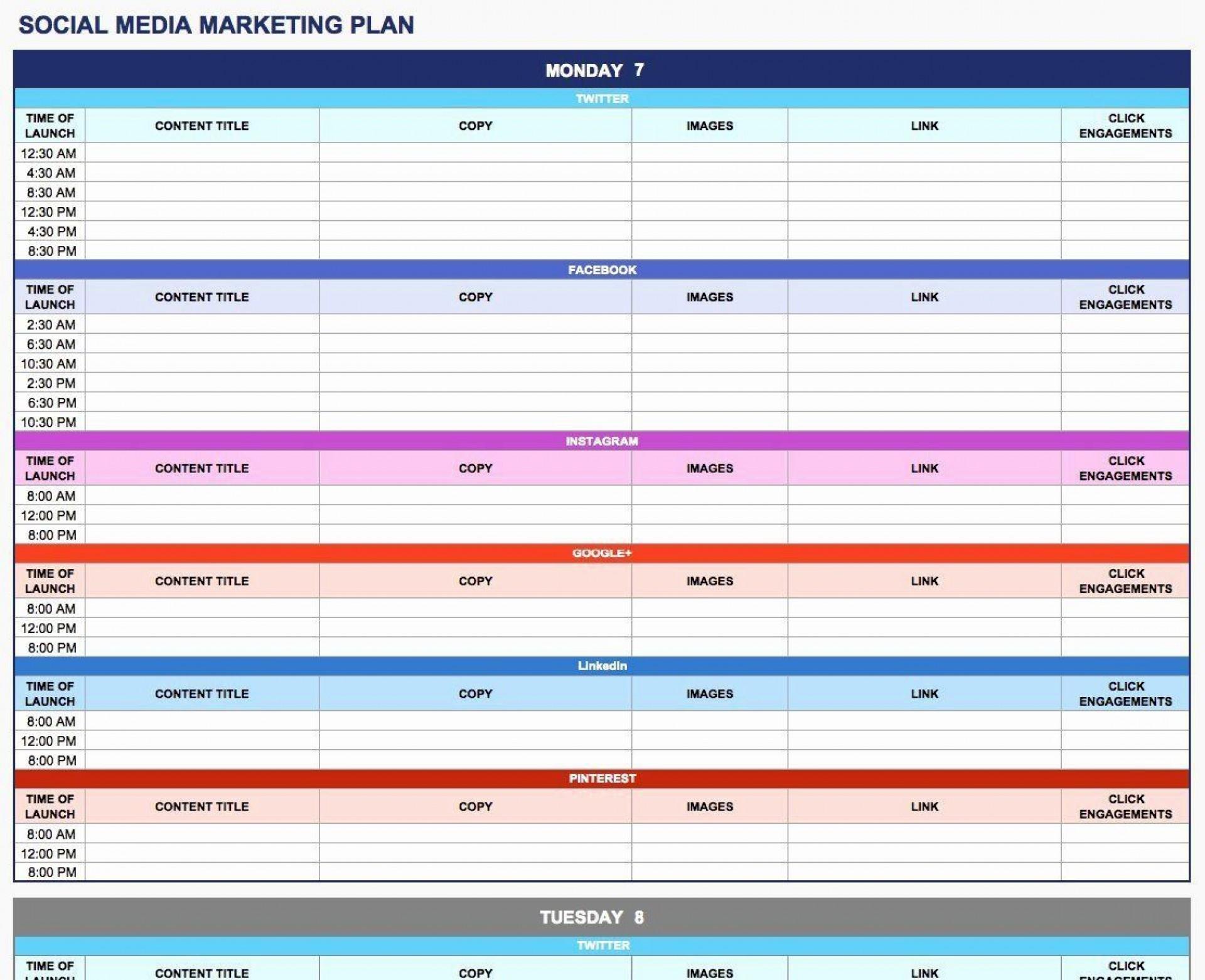 003 Rare Social Media Plan Template High Resolution  Doc Download Marketing Excel1920