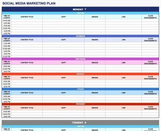 003 Rare Social Media Plan Template High Resolution  Free Download Ppt Marketing Excel320