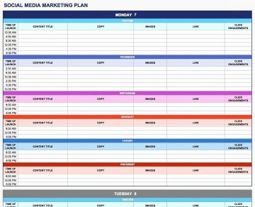 003 Rare Social Media Plan Template High Resolution  Free Download Ppt Marketing Excel360