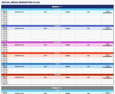 003 Rare Social Media Plan Template High Resolution  Free Download Ppt Marketing Excel480